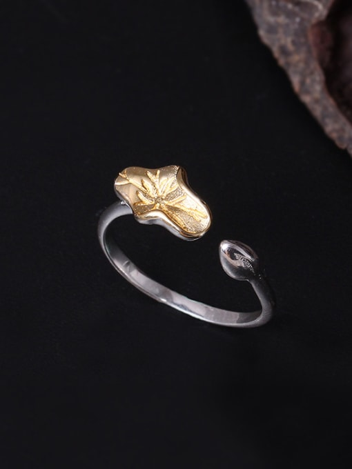SILVER MI Color Lotus Leaf Opening Statement Ring 0
