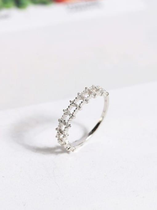 Peng Yuan Fashion Double Row Zircon Silver Ring 2