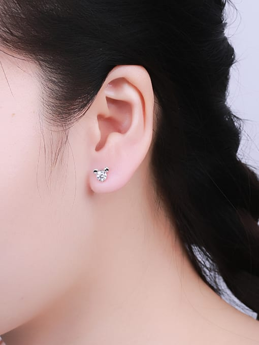 One Silver Lovely Mickey Mouse Zircon cuff earring 1