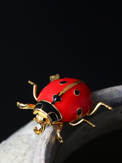 SILVER MI Color Enamel Insect Personality Brooch
