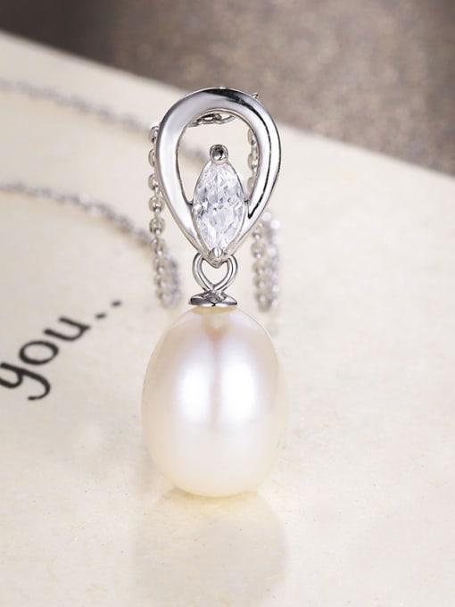 One Silver Women Elegant Freshwater Pearl Pendant 2