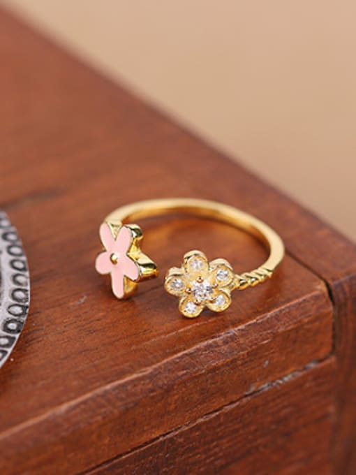 gold Tiny Flowers Zircon Opening Ring