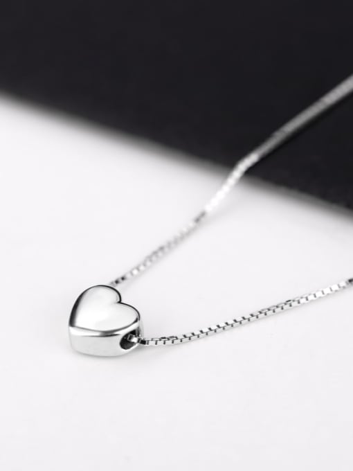 Peng Yuan Simple Heart shaped Silver Necklace 3