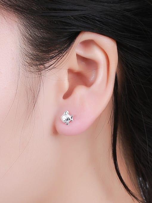 One Silver Women Cute Fish Shaped Earrings 1