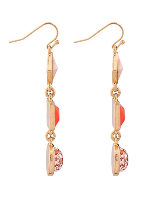 KM Rose Gold Plated Geometric Stones drop earring 1