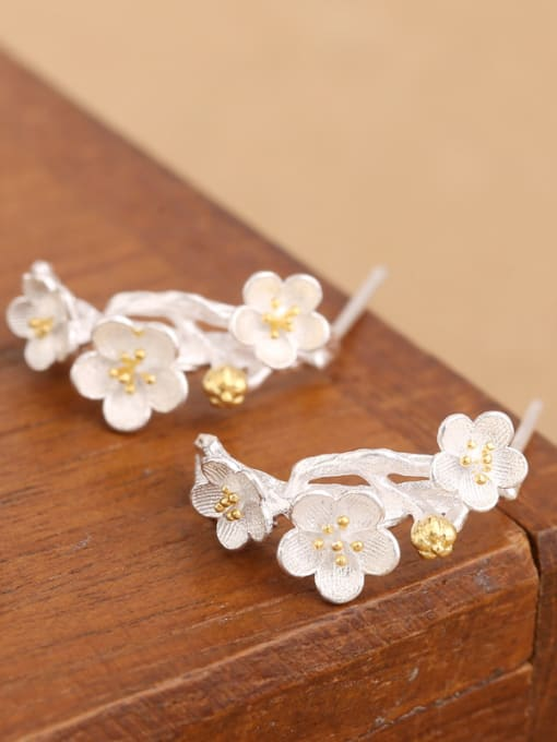 Peng Yuan Exquisite Flowers Silver stud Earring 2