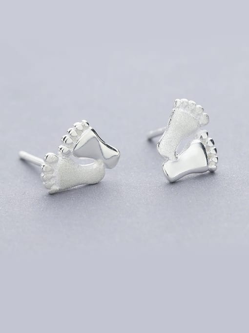 One Silver Women Feet Shaped Stud Earrings