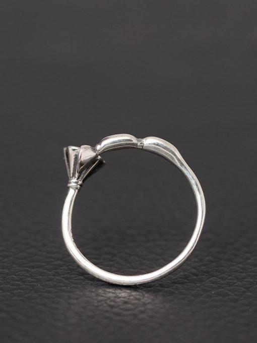 SILVER MI Retro Style Silver Lotus Root Open Ring 1