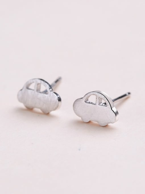 White Temperament Car Shaped Stud Earrings