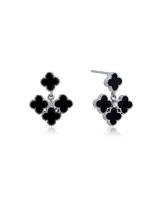 One Silver Elegant Black Carnelian Flower Earrings