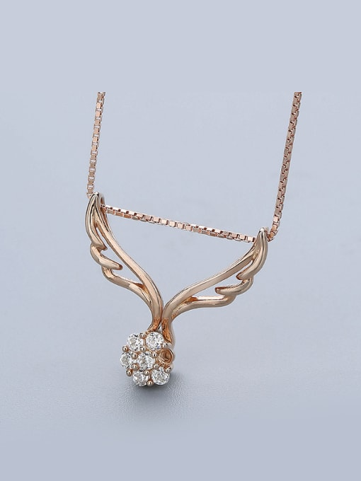 One Silver Rose Gold Plated Wings Zircon Pendant