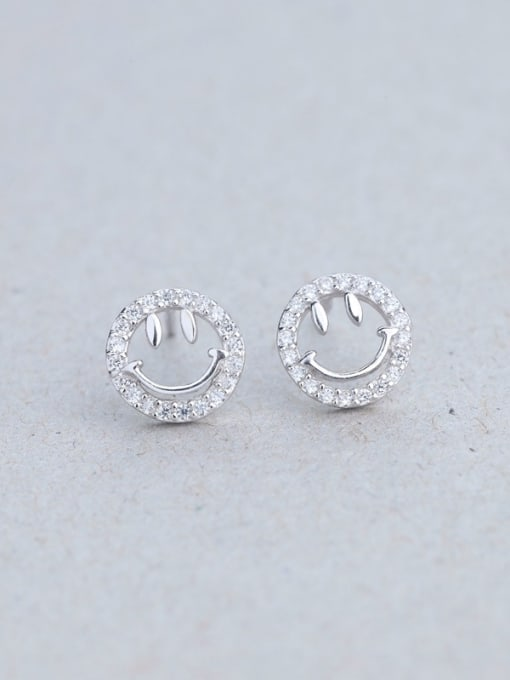 One Silver 925 Silver Smiling Face stud Earring 0