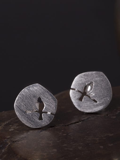 SILVER MI S925 Silver Hollow Round stud Earring 0