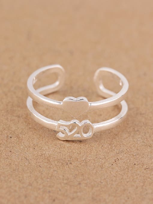 Peng Yuan Two-band Heart shaped Opening Ring