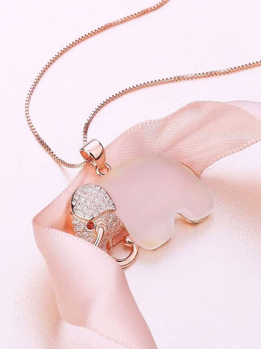 rose gold 925 Silver Elephant Opal Stone Pendant