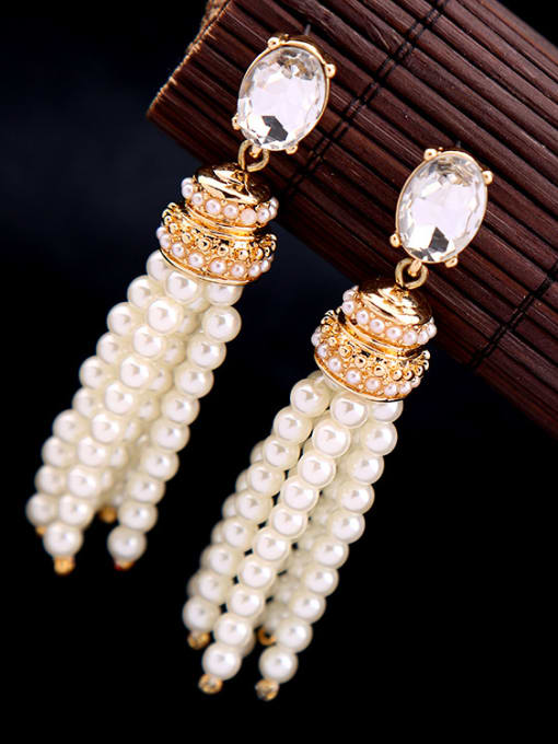 KM White Artificial Stones drop earring 1