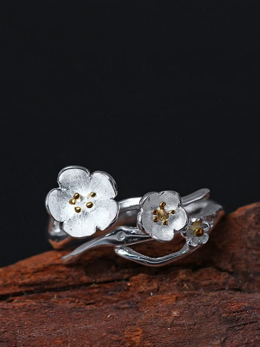 SILVER MI Beautiful Flower Silver Opening Ring 0