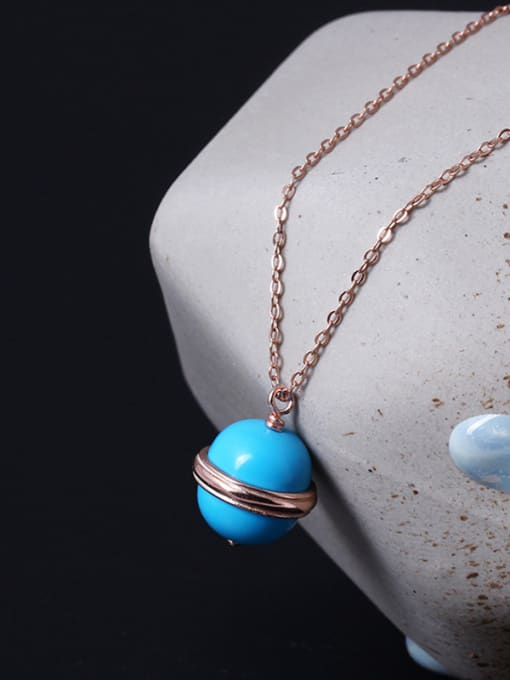 SILVER MI Rose Gold Plated Ball Necklace 2