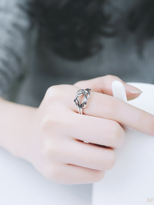 Peng Yuan Personalized Knot Silver Opening Midi Ring 1