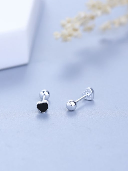 One Silver 925 Silver Black Heart Shaped stud Earring 2