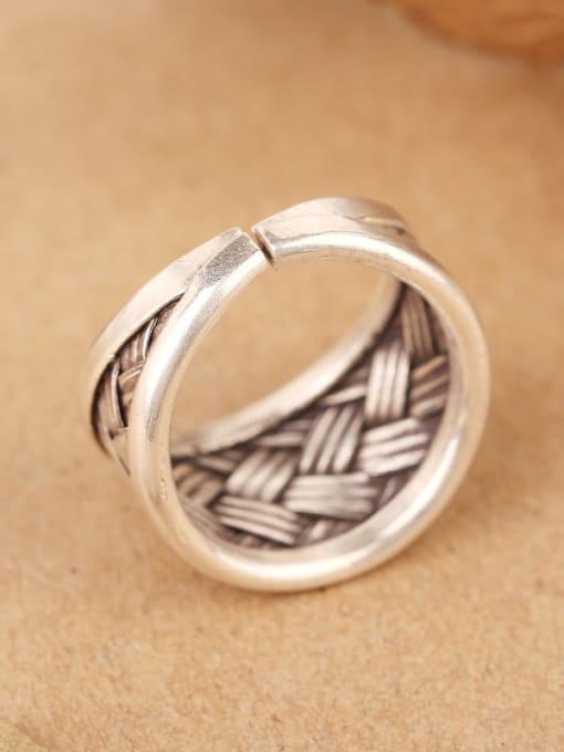 Peng Yuan Punk Woven Silver Handmade Ring 3