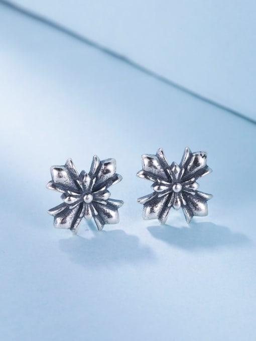One Silver Women Double Cross Shaped Earrings