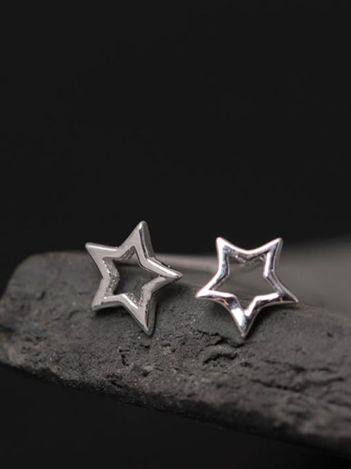 SILVER MI Simple Star Shape Stud Earrings 0