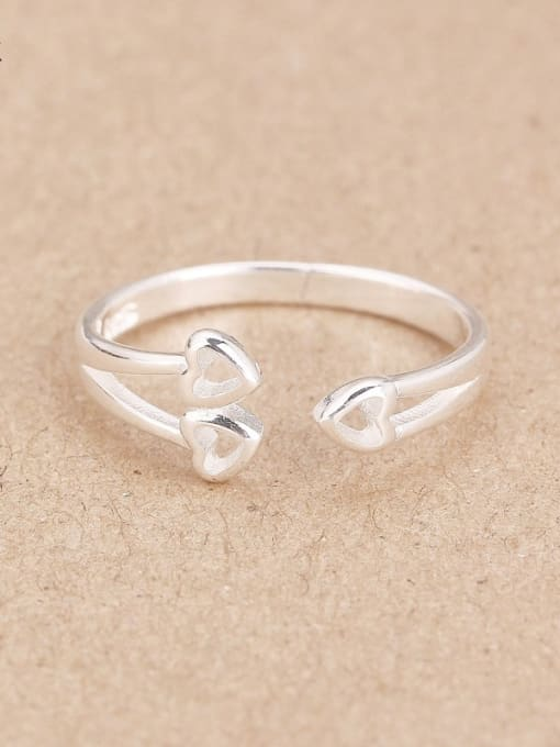 Peng Yuan Heart shapes Silver Opening Midi Ring