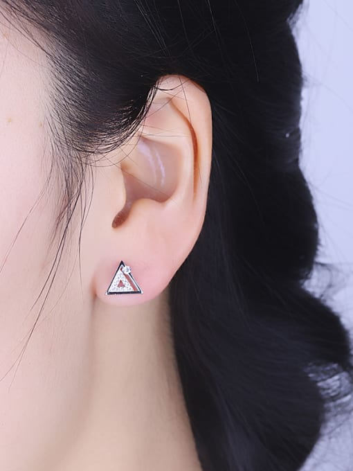 One Silver Women Triangle Shaped Zircon stud Earring 1