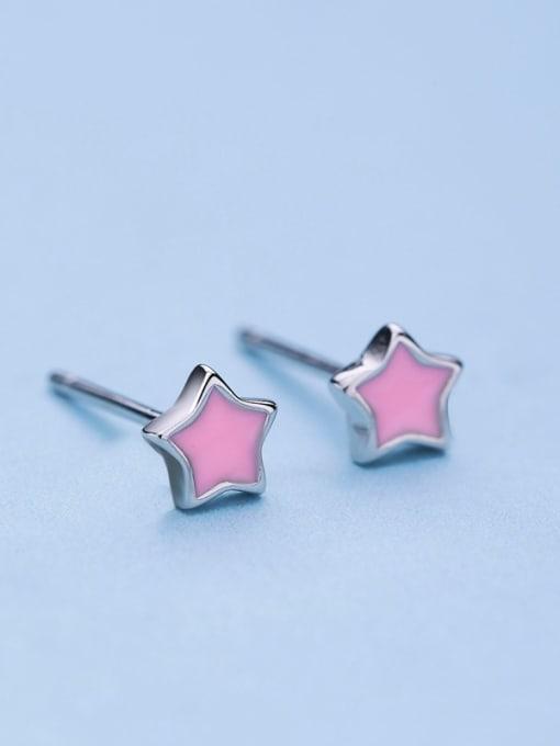One Silver Women Fresh Star Shaped stud Earring 2