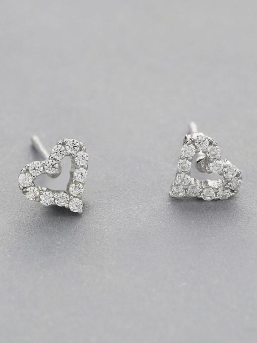 One Silver 925 Silver Heart Shaped Zircon cuff earring