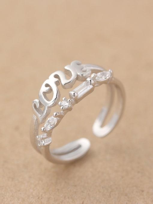 Peng Yuan Fashion Rhinestones Monogram Opening Midi Ring