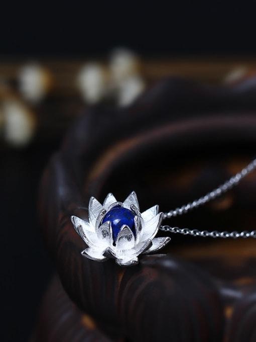 SILVER MI Lotus Flower Blue Stone Women Necklace 1