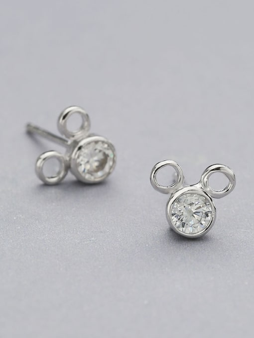 One Silver Cute Mickey Mouse Shaped stud Earring 0