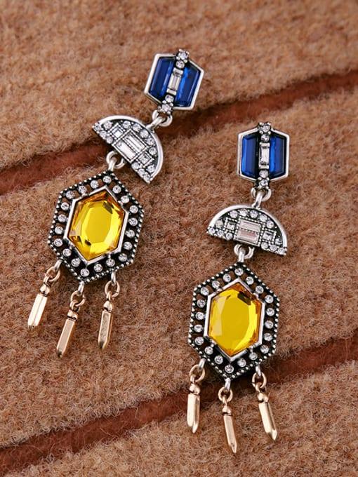 KM Noble Colorful Stones Women Drop Chandelier earring 1
