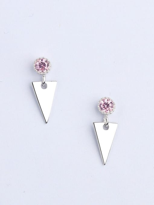 One Silver Exquisite Triangle Shaped Zircon drop earring