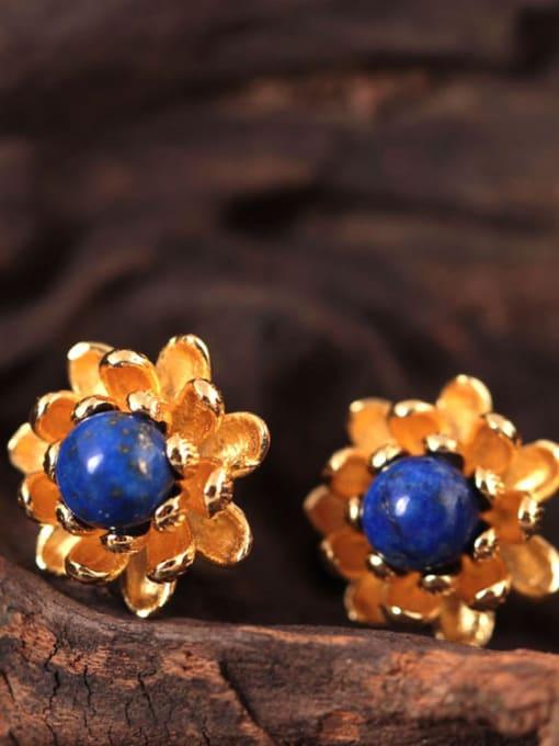 SILVER MI Beautiful Small Flower stud Earring 3