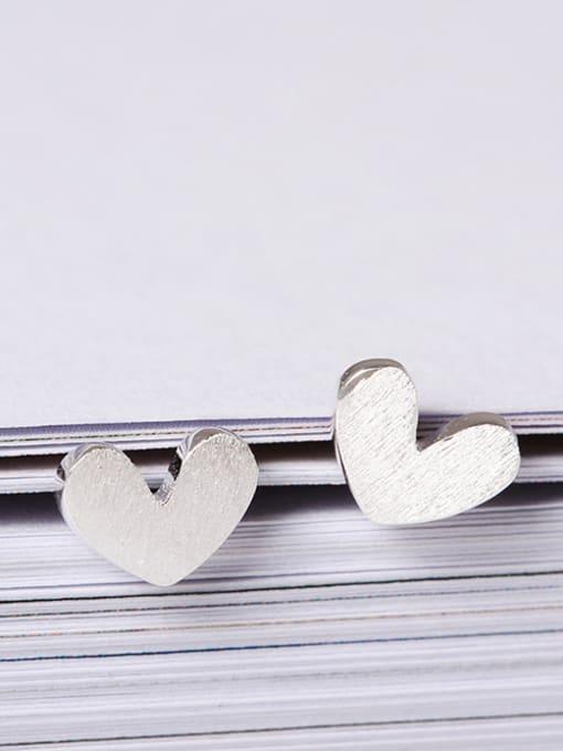 SILVER MI Heart-shape Women stud Earring 1