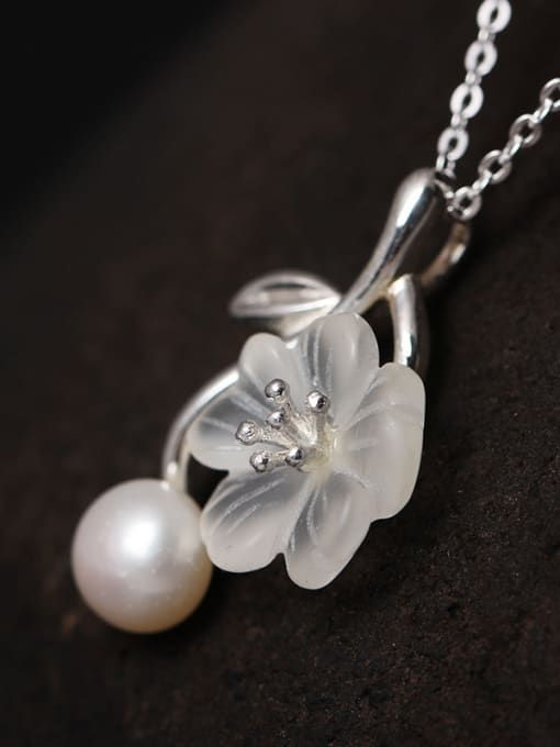 SILVER MI S925 Silver Crystal  Flower Pendant Necklace 1