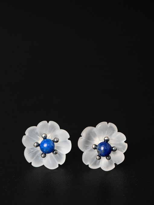 SILVER MI Natural Crystal Plum Blossom stud Earring