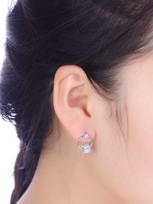 One Silver All-match Geometric Shaped Stud drop earring 1