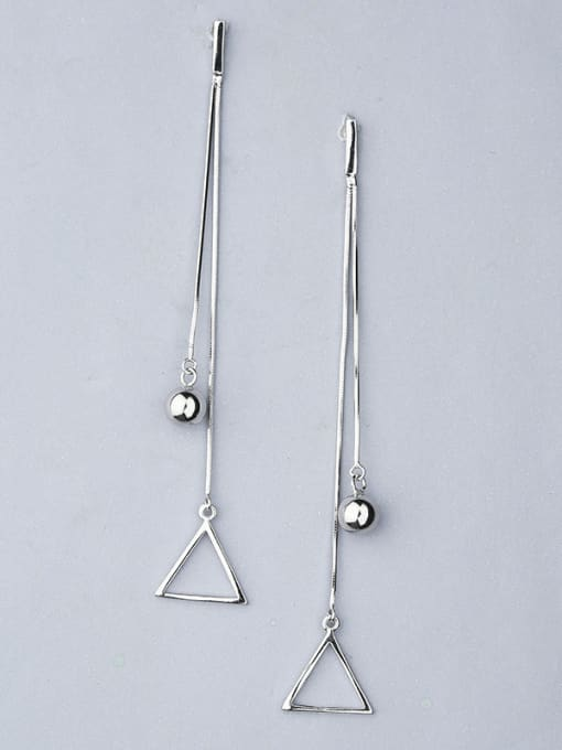 One Silver Trendy Triangle Shaped Stud threader earring 0