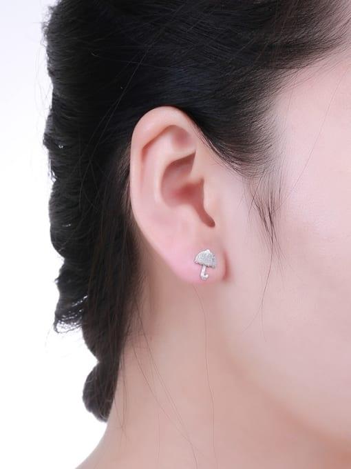One Silver 925 Silver Mushroom Shaped stud Earring 1