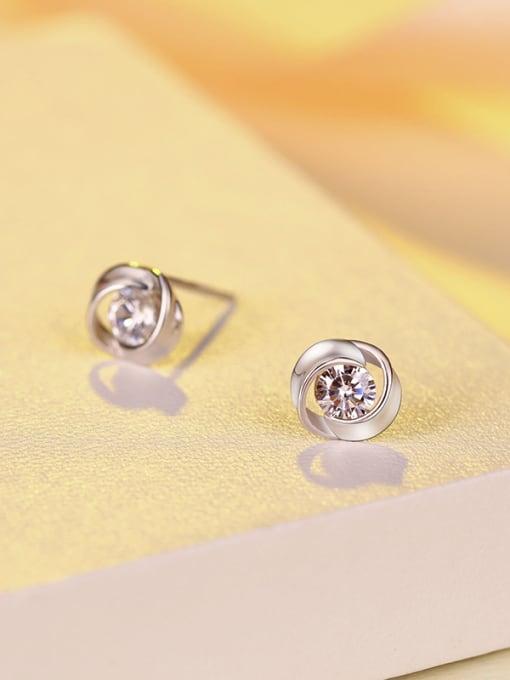 One Silver 925 Silver Flower-shaped stud Earring 2