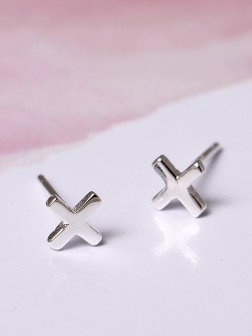 SILVER MI Simple Style Cross Stud Earrings