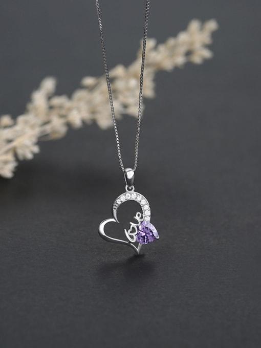 Purple 925 Silver Heart Shaped Zircon Pendant
