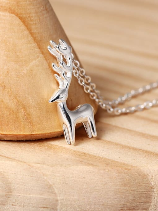 SILVER MI Lovely Deer Pendant Clavicle Necklace