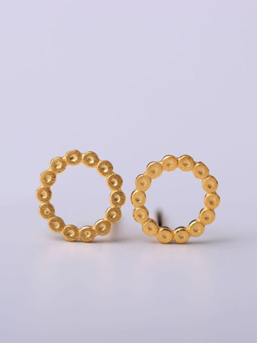 SILVER MI Gold Plated Round Stud Earrings