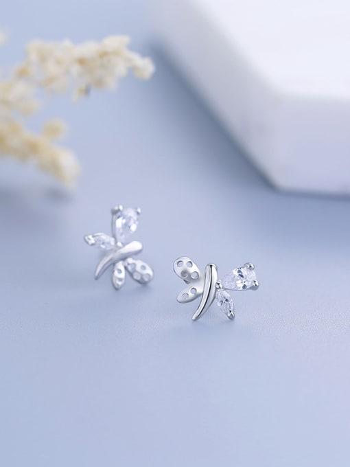 One Silver Fashion Butterfly Shaped Zircon stud Earring 0
