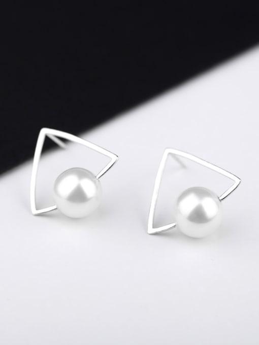 Peng Yuan Triangle Freshwater Pearl Stud Earrings